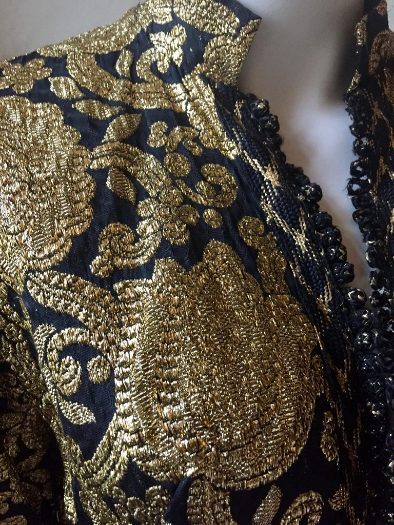 Vintage Gold and Black Brocade Dress/Jacket with Knot Buttons For Sale 1
