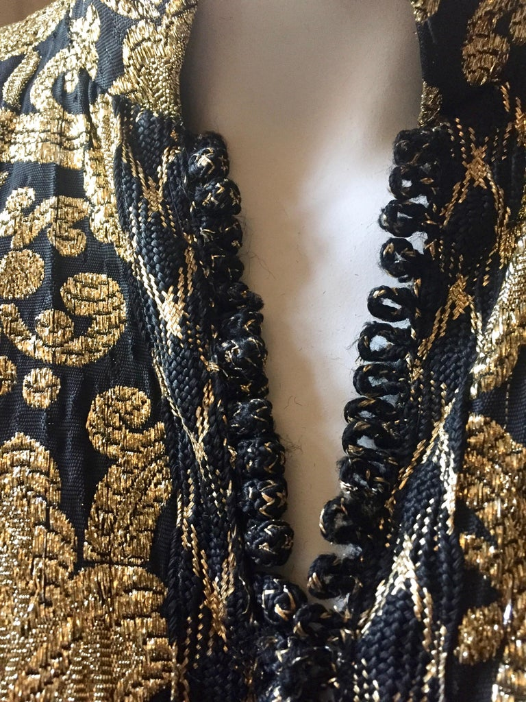 Vintage Gold and Black Brocade Dress/Jacket with Knot Buttons For Sale 2