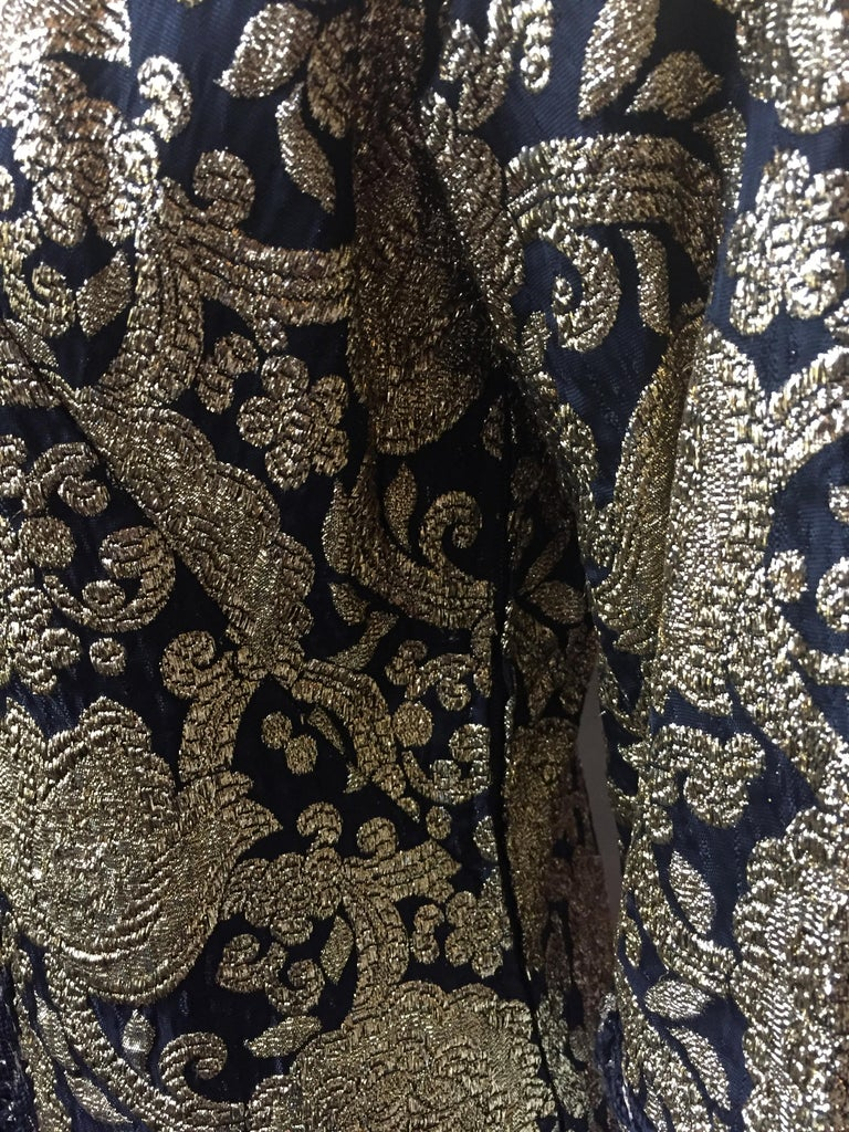 Vintage Gold and Black Brocade Dress/Jacket with Knot Buttons For Sale 3