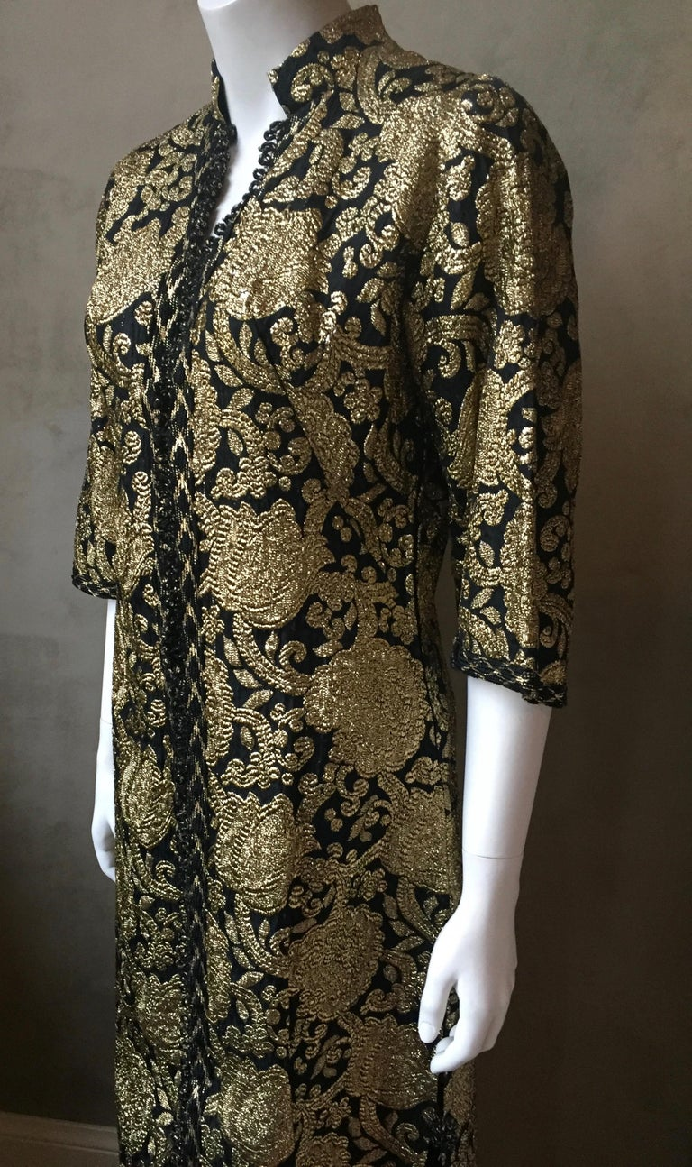 Vintage Gold and Black Brocade Dress/Jacket with Knot Buttons For Sale 4