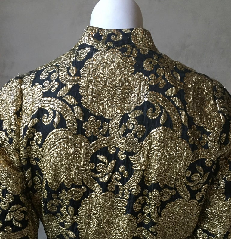 Vintage Gold and Black Brocade Dress/Jacket with Knot Buttons For Sale 5
