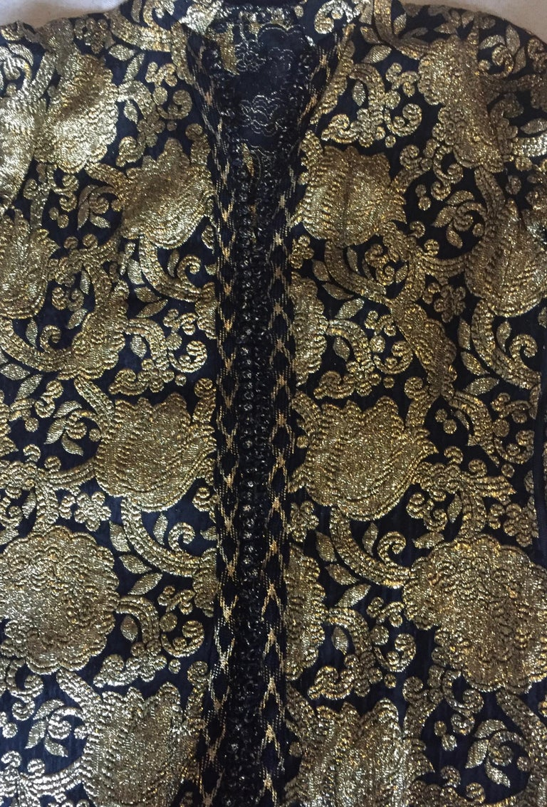 Vintage Gold and Black Brocade Dress/Jacket with Knot Buttons For Sale 6
