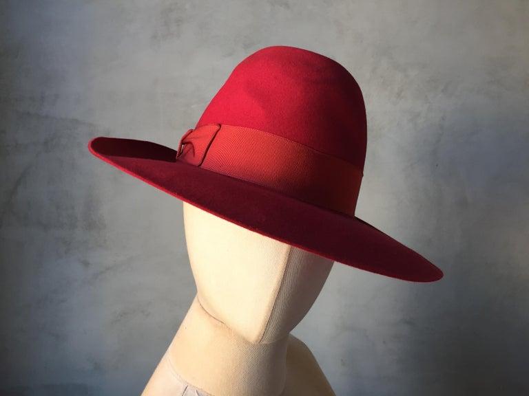 Red Borsalino Alessandria Felt Fedora Hat In Good Condition For Sale In  Antwerp fc83c744c3f