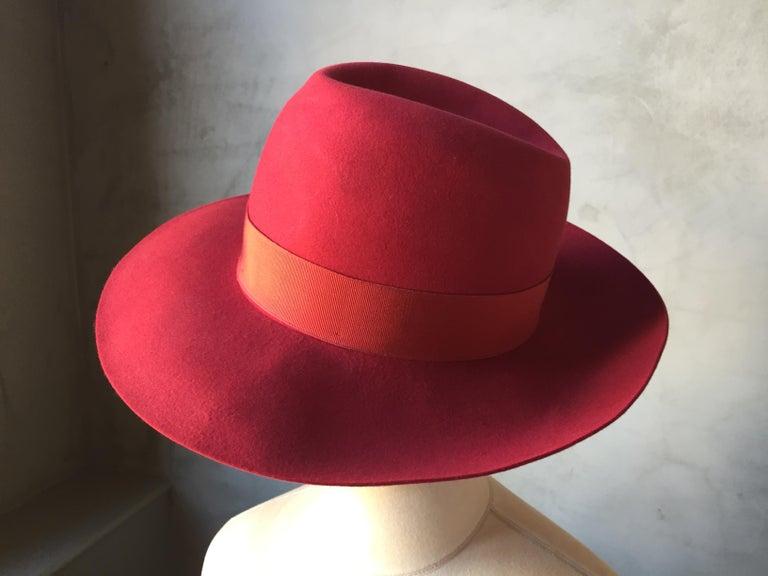 c50cf155c4b0 Women's or Men's Red Borsalino Alessandria Felt Fedora Hat For Sale