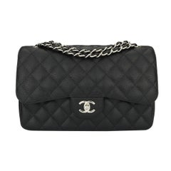 Chanel Classic Black Caviar Jumbo Double Flap Bag with Silver Hardware, 2010
