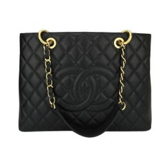CHANEL Grand Shopping Tote (GST) Black Caviar with Gold Hardware 2014