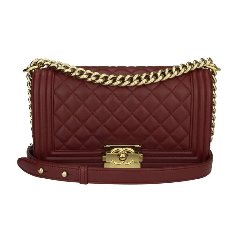 1a37101a7f28 CHANEL Old Medium Quilted Boy Burgundy Lambskin with Shiny Gold Hardware  2015 For Sale