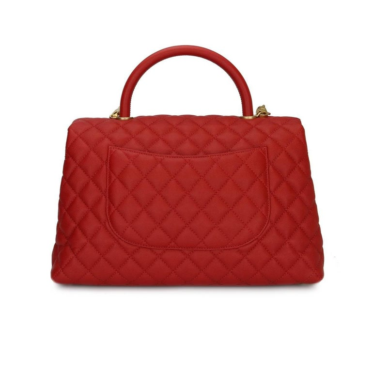 4f028215f7430 Chanel Coco Handle Large Red Caviar bag with Brushed Gold Hardware ...