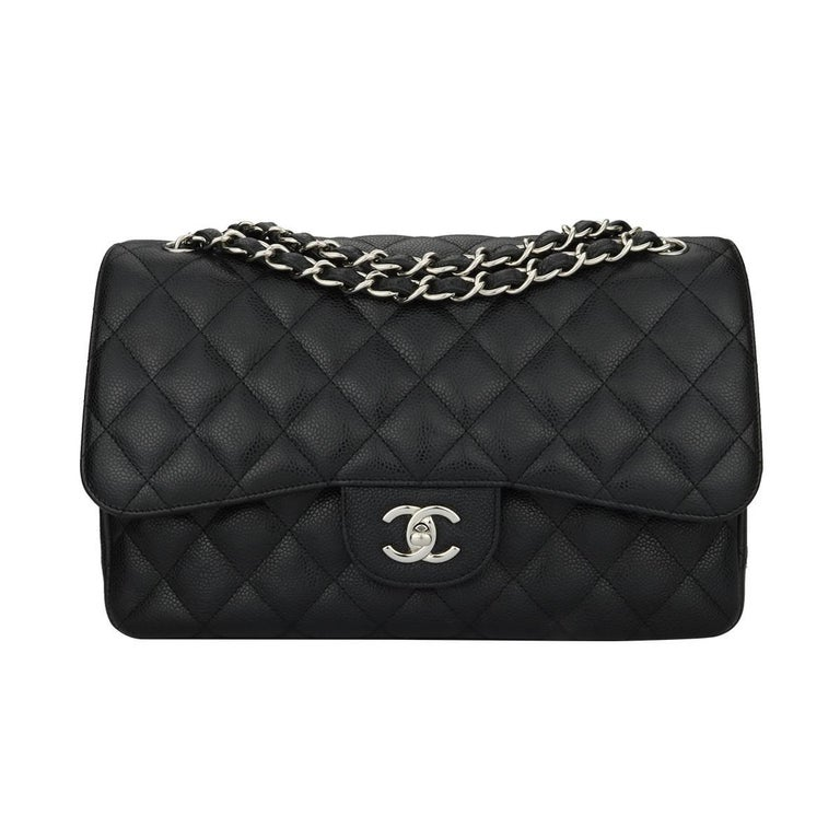 CHANEL Classic Jumbo Double Flap Black Caviar with Silver Hardware 2014