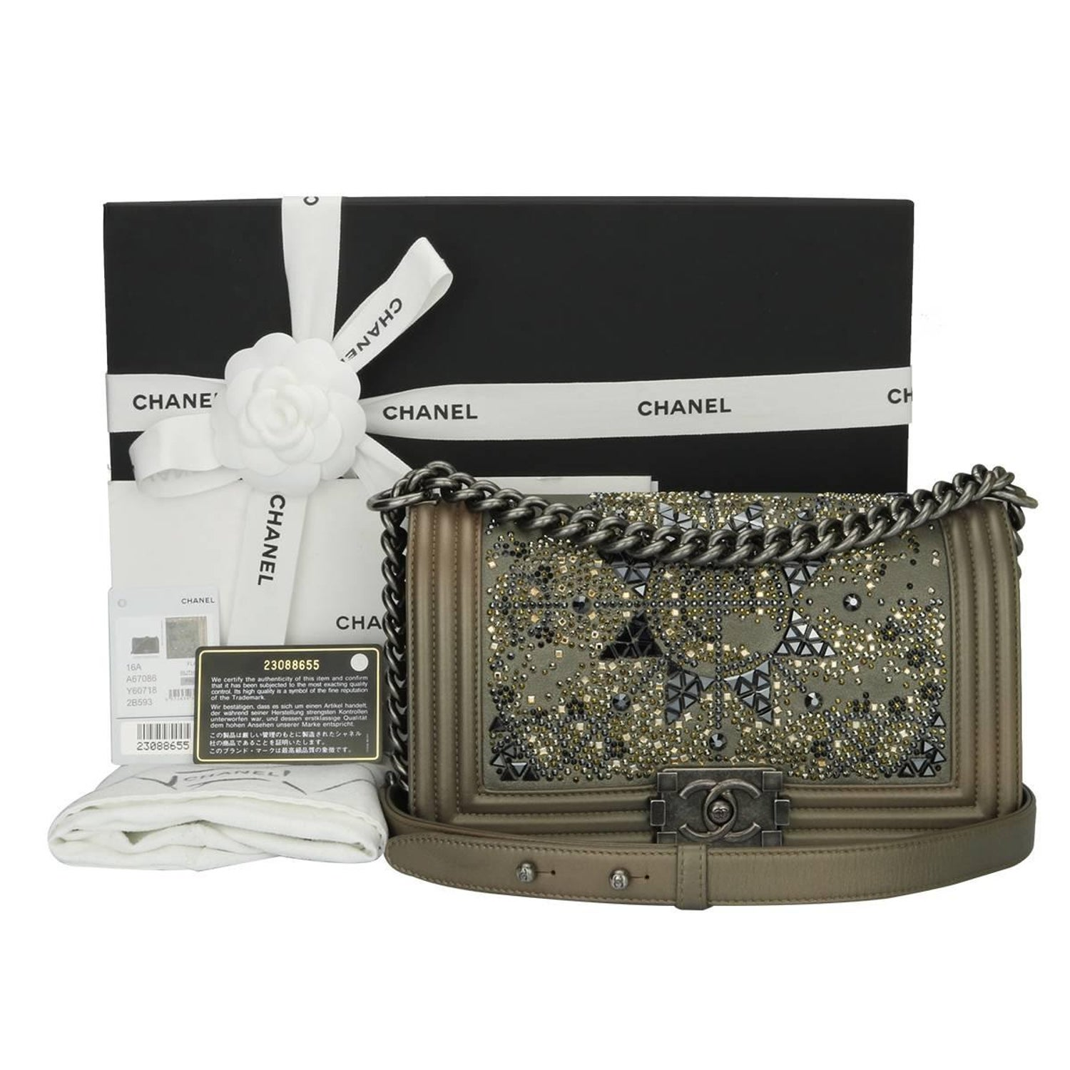 035326948178 Chanel Old Medium Crystal Boy Metallic Bronze Ruthenium Hardware Goatskin  Bag For Sale at 1stdibs