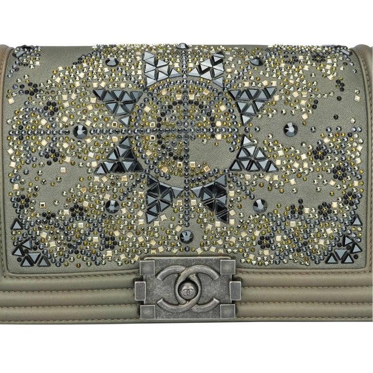 30300055c8141e Women's or Men's Chanel Old Medium Crystal Boy Metallic Bronze Ruthenium  Hardware Goatskin Bag For Sale
