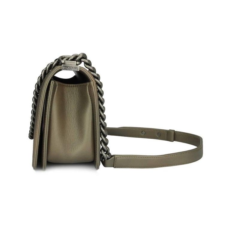 da5875c5f1e633 Chanel Old Medium Crystal Boy Metallic Bronze Ruthenium Hardware Goatskin  Bag For Sale 2