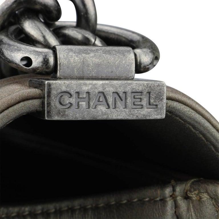 b4ecbfbe3b2c5e Chanel Old Medium Crystal Boy Metallic Bronze Ruthenium Hardware Goatskin  Bag For Sale 3