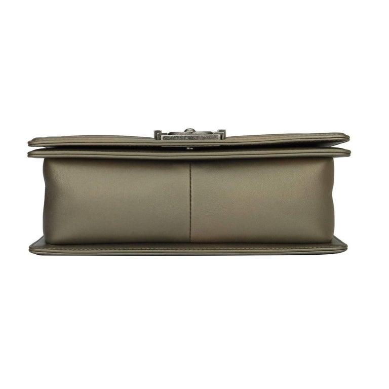 cf0dfd3eae7e21 Chanel Old Medium Crystal Boy Metallic Bronze Ruthenium Hardware Goatskin  Bag For Sale 5