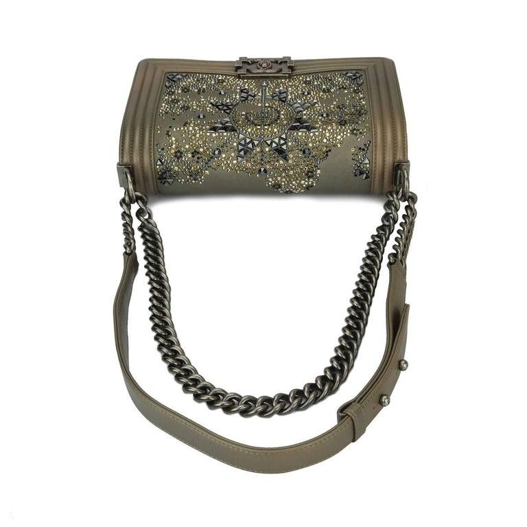 8e4129a3215810 Chanel Old Medium Crystal Boy Metallic Bronze Ruthenium Hardware Goatskin  Bag For Sale 8