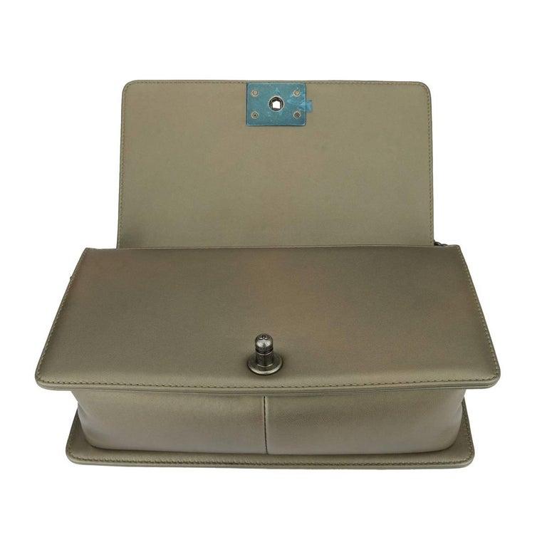 d70e10436ccc63 Chanel Old Medium Crystal Boy Metallic Bronze Ruthenium Hardware Goatskin  Bag For Sale 9