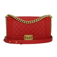 CHANEL Old Medium Quilted Boy Red Lambskin with Brushed Gold Hardware 2017