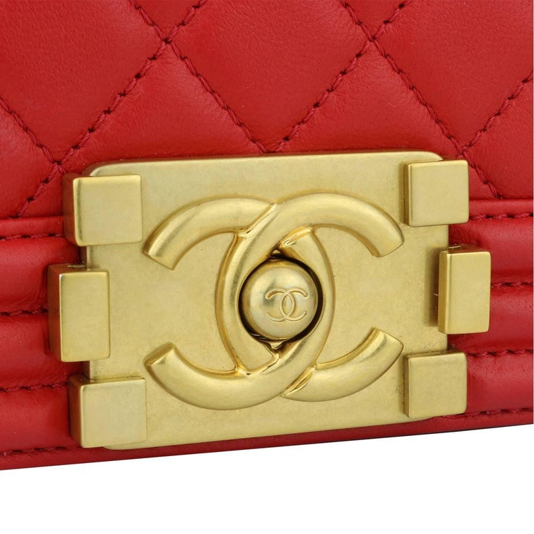 1781b245cd8093 Authentic CHANEL Old Medium Quilted Boy Red Lambskin with Brushed Gold  Hardware 2017. This stunning