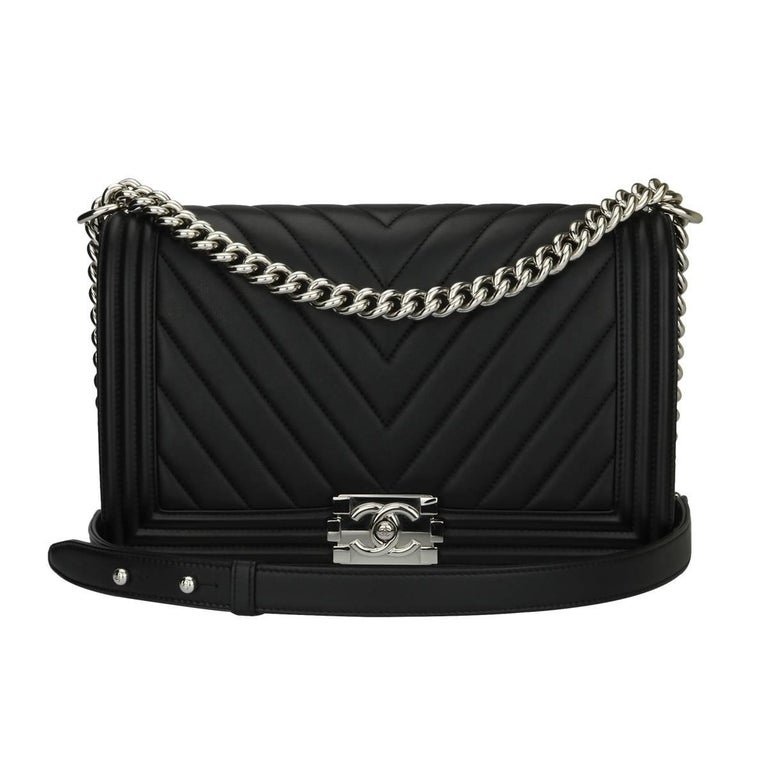 fec0a0458d5039 Chanel Medium Chevron Black Calfskin Boy Bag with Shiny Silver Hardware,  2016 For Sale