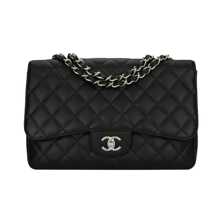 c7f7883bca3800 CHANEL Classic Single Flap Jumbo Black Caviar with Silver Hardware 2009 For  Sale