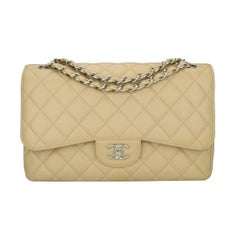 CHANEL Classic Double Flap Jumbo Beige Clair Caviar with Silver Hardware 2013