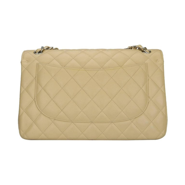 CHANEL Classic Double Flap Jumbo Beige Clair Caviar with Silver Hardware 2013 In Excellent Condition For Sale In Huddersfield, GB