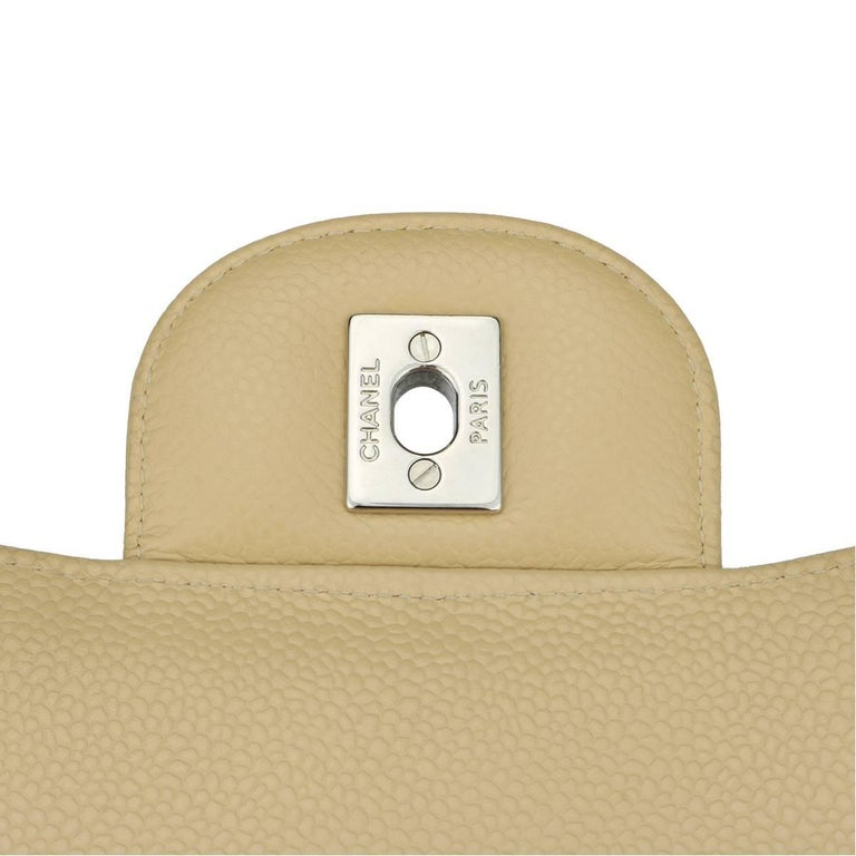 CHANEL Classic Double Flap Jumbo Beige Clair Caviar with Silver Hardware 2013 For Sale 9