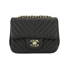 CHANEL Classic Square Mini Chevron Black Lambskin with Light Gold Hardware 2017