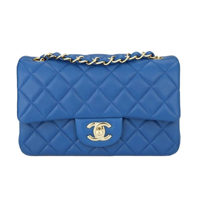 843084b0820ae0 Chanel Rectangular Mini Blue Lambskin Bag with Light Gold Hardware, 2017  For Sale