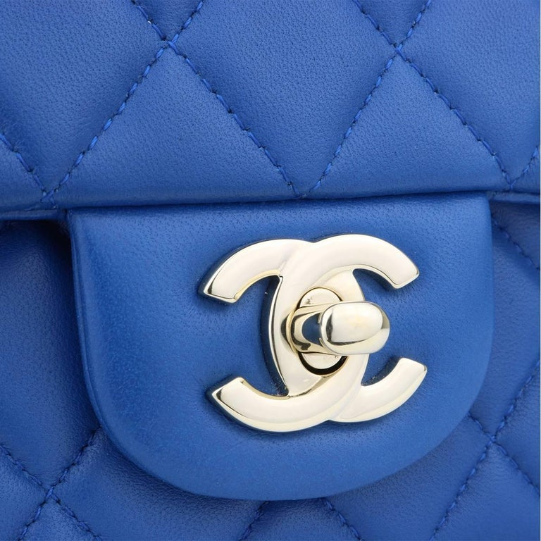 3bdc671ff6417a Authentic CHANEL Rectangular Mini Blue Lambskin with Light Gold Hardware  2017 This stunning bag is still