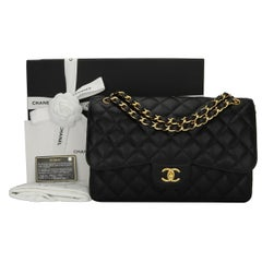 CHANEL Classic Jumbo Double Flap Black Caviar with Gold Hardware 2015