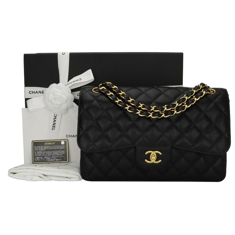4b139f192986 CHANEL Classic Jumbo Double Flap Black Caviar with Gold Hardware 2015 For  Sale