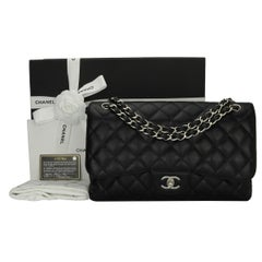 CHANEL Classic Jumbo Double Flap Black Caviar with Silver Hardware 2013