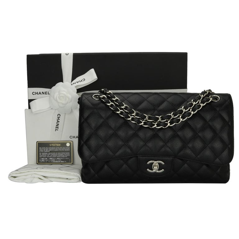 ba1f40e52192c8 Chanel Classic Jumbo Black Caviar Double Flap Bag with Silver Hardware, 2013  For Sale