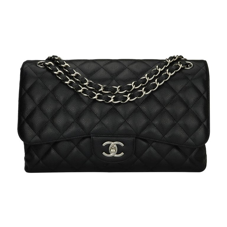 20c22f8d21d132 Authentic CHANEL Classic Jumbo Double Flap Black Caviar with Silver  Hardware 2013. This stunning bag