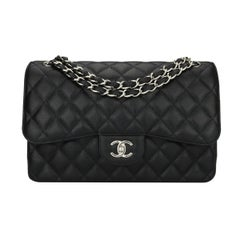 CHANEL Classic Jumbo Double Flap Black Caviar with Silver Hardware 2015
