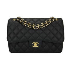 CHANEL Classic Jumbo Double Flap Black Caviar with Gold Hardware 2014