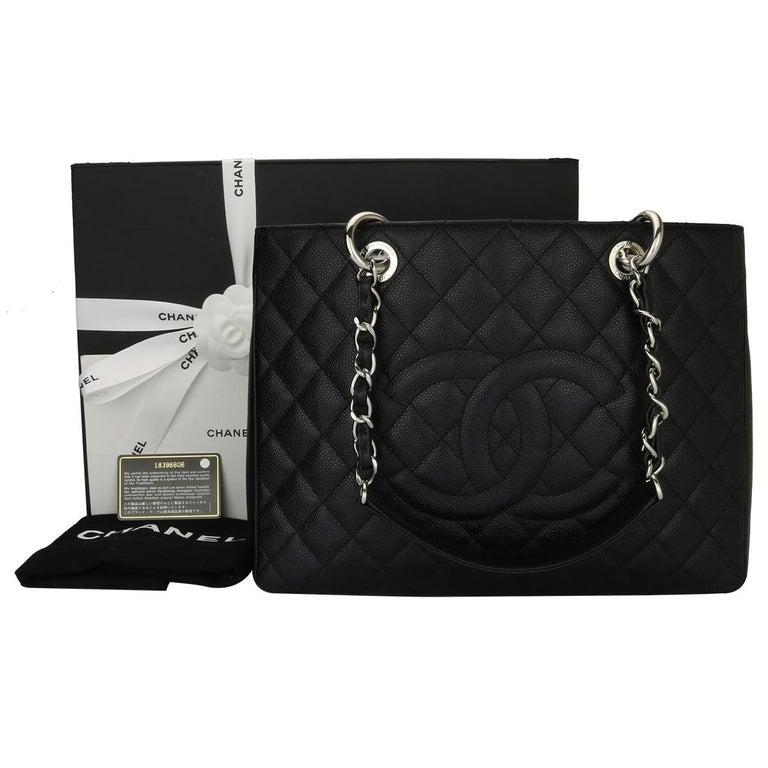 50bb2c0da4fc53 Authentic CHANEL Grand Shopping Tote (GST) Black Caviar with Silver Hardware  2014. This