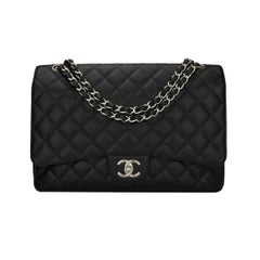 CHANEL Black Caviar Maxi Double Flap with Silver Hardware 2012