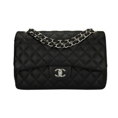 CHANEL Classic Jumbo Double Flap Black Lambskin with Silver Hardware 2014