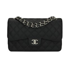 CHANEL Classic Jumbo Double Flap Black Caviar with Silver Hardware 2012