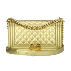 Chanel Old Medium Quilted Gold Patent Boy Bag with Shiny Gold Hardware, 2014