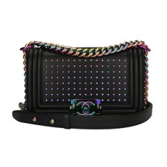 Chanel Small LED Boy Black Lambskin Bag with Rainbow Hardware, 2017