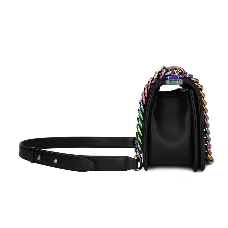 Chanel Small LED Boy Black Lambskin Bag with Rainbow Hardware, 2017 1