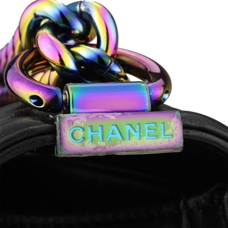 Chanel Small LED Boy Black Lambskin Bag with Rainbow Hardware, 2017 2