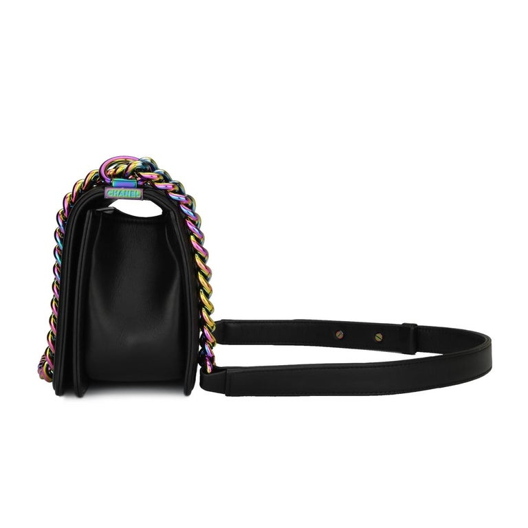 Chanel Small LED Boy Black Lambskin Bag with Rainbow Hardware, 2017 3