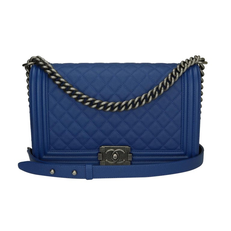 d29f1f9fe8e1 CHANEL New Medium Quilted Boy Blue Caviar with Ruthenium Hardware 2018 For  Sale