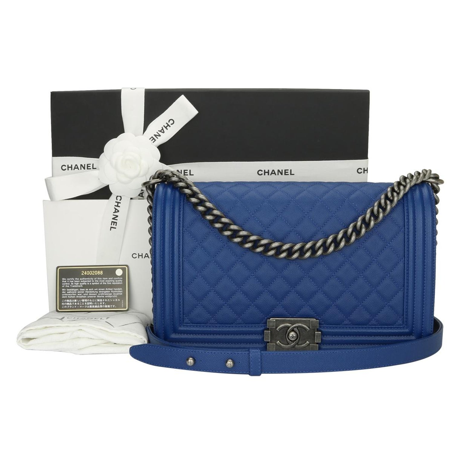 799e58a7700be3 CHANEL New Medium Quilted Boy Blue Caviar with Ruthenium Hardware 2018 at  1stdibs
