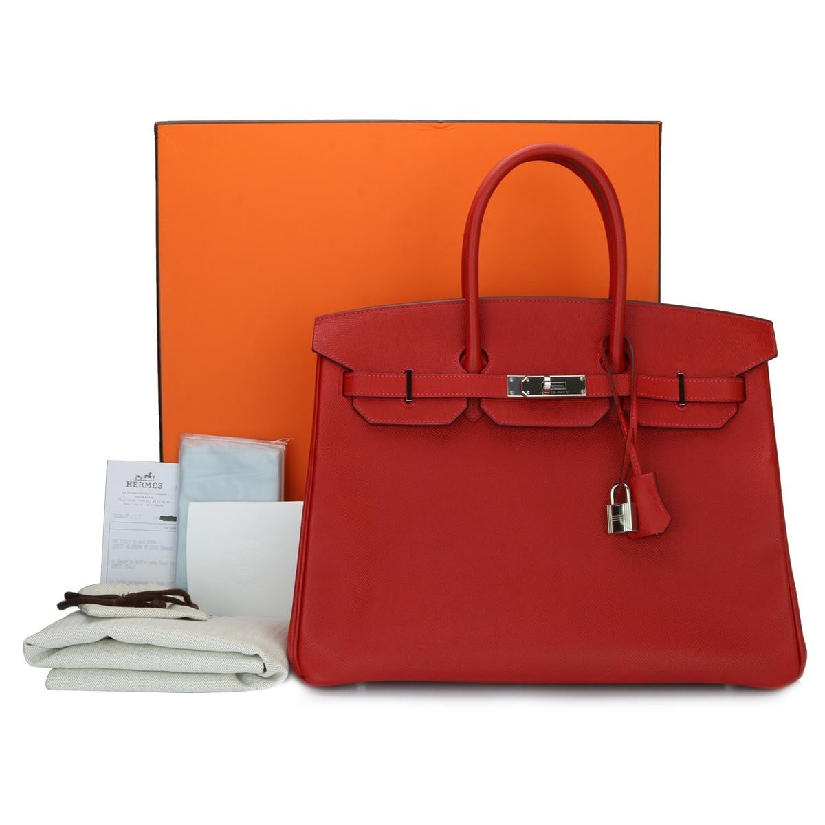 baab2cb5763 ... coupon code for authentic hermès birkin 35cm q5 rouge casaque epsom  leather with palladium hardware stamp