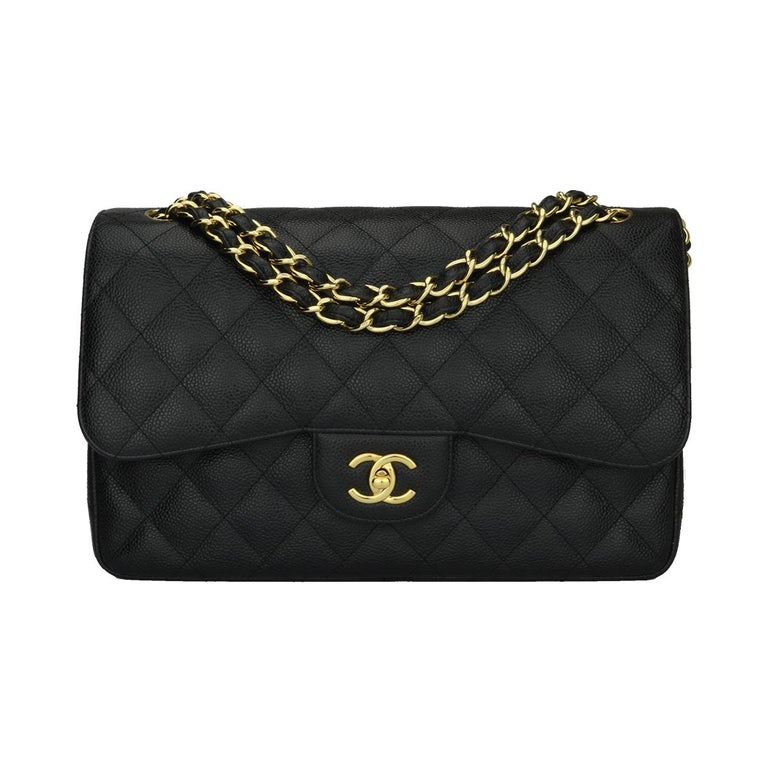 70719c96ff31 CHANEL Classic Jumbo Double Flap Black Caviar with Gold Hardware 2012 For  Sale